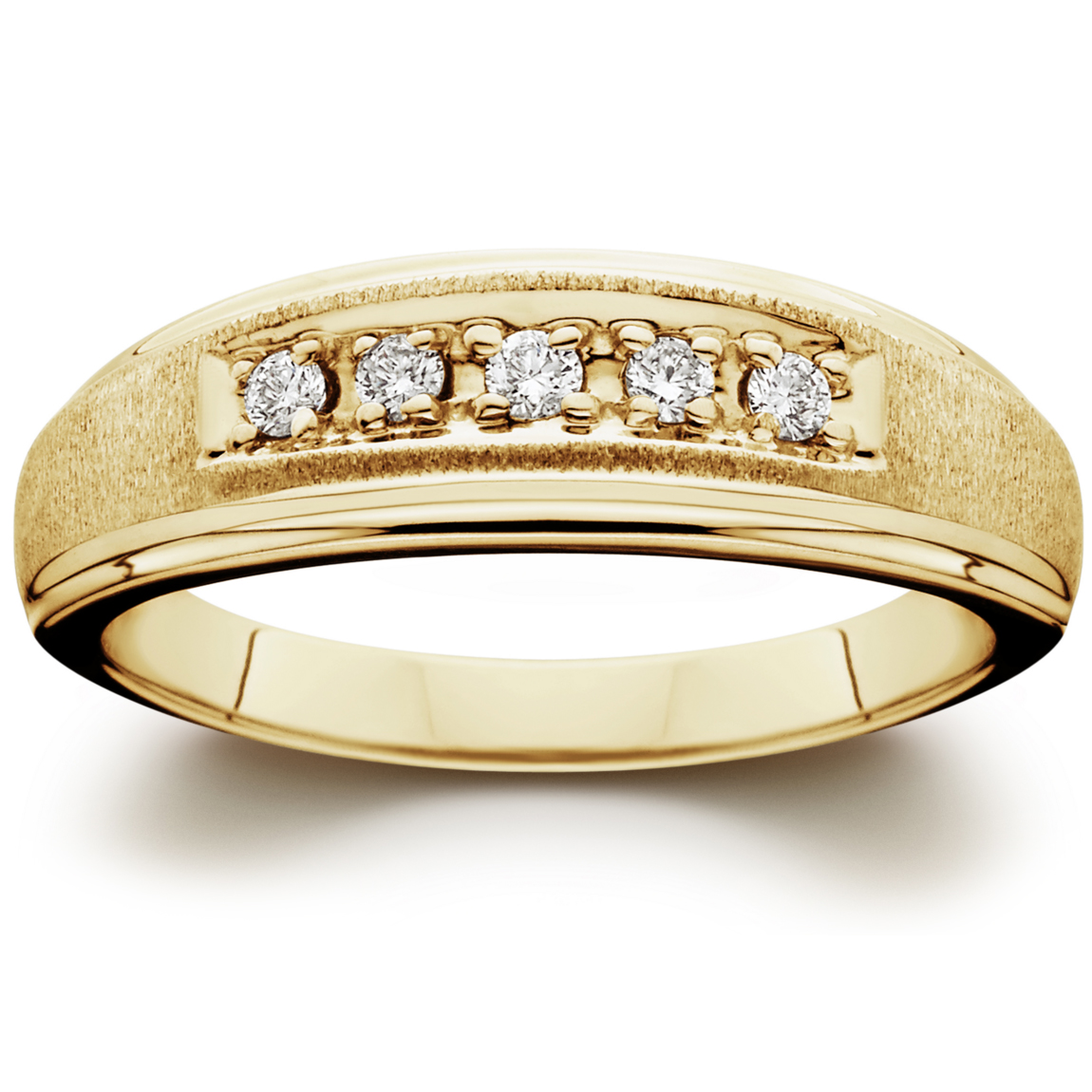 Mens 1/6ct 14K Yellow Gold Diamond Wedding Ring Band