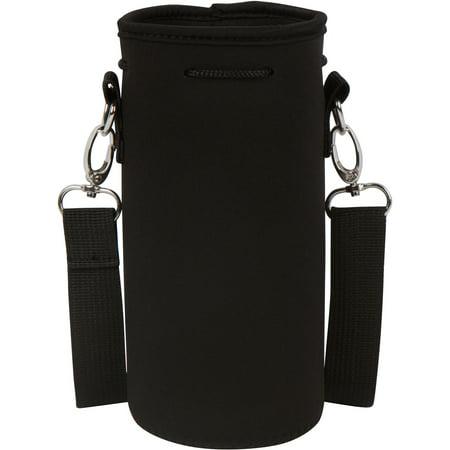 Neoprene Water Bottle or Flask Carrier Holder (32 ounces or 1-1.5 Liter) w/ Adjustable Shoulder Strap by Made Easy Kit