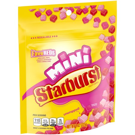 Starburst, Minis FaveREDS Unwrapped Fruit Chews Candy, 8 Ounce Candy Chocolate Dried Fruit