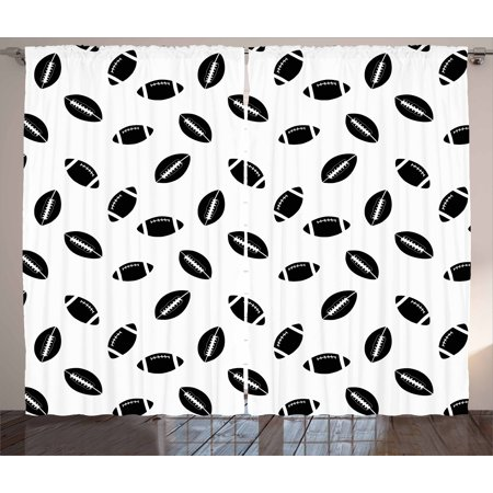American Football Curtains 2 Panels Set, Monochrome Pattern with Black Rugby Balls American Culture Sports Play, Window Drapes for Living Room Bedroom, 108W X 90L Inches, Black White, by Ambesonne