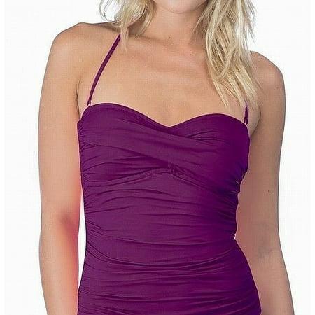 Shirred Tankini Top - La Blanca NEW Purple Grape Womens Size 14 Bandeau Shirred Tankini Top