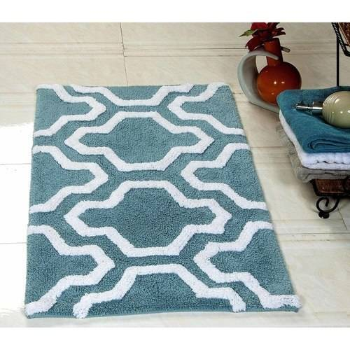 Saffron Fabs Bath Rug 2-Piece Set, Geomatric Quatrefoil Pattern, Assorted Colors and Sizes