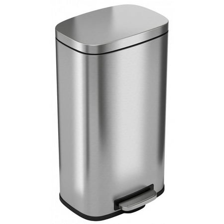 iTouchless SoftStep 8 Gallon Stainless Steel Step Trash Can, 30 Liter Pedal Kitchen Trash Can, Perfect for Office, Home and -