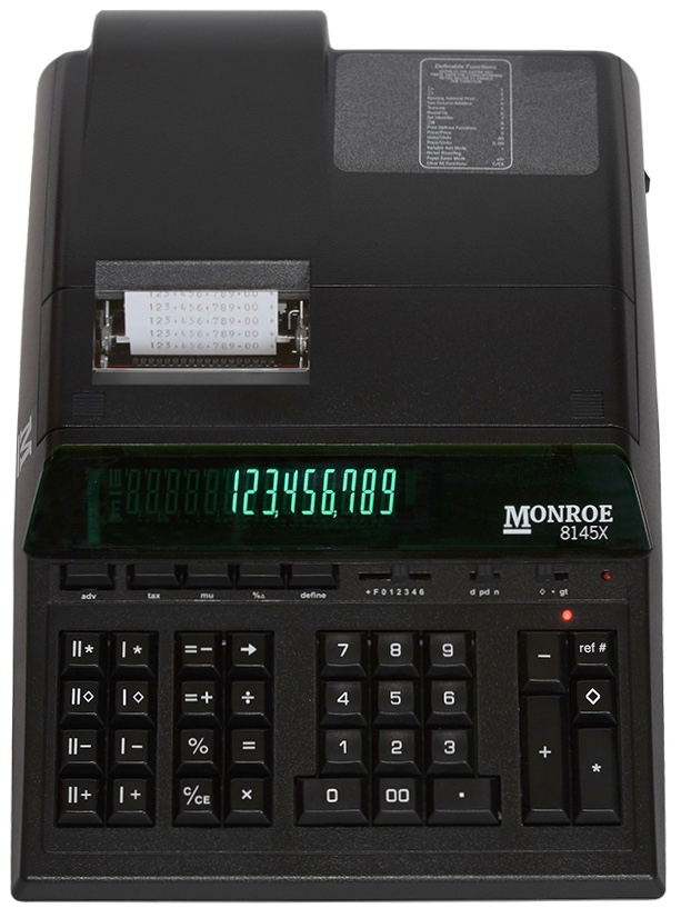 (1) Monroe 8145X 14-Digit Printing Calculator With Dual Memory Function And Extended Life Calculator Body by Monroe Systems for Business