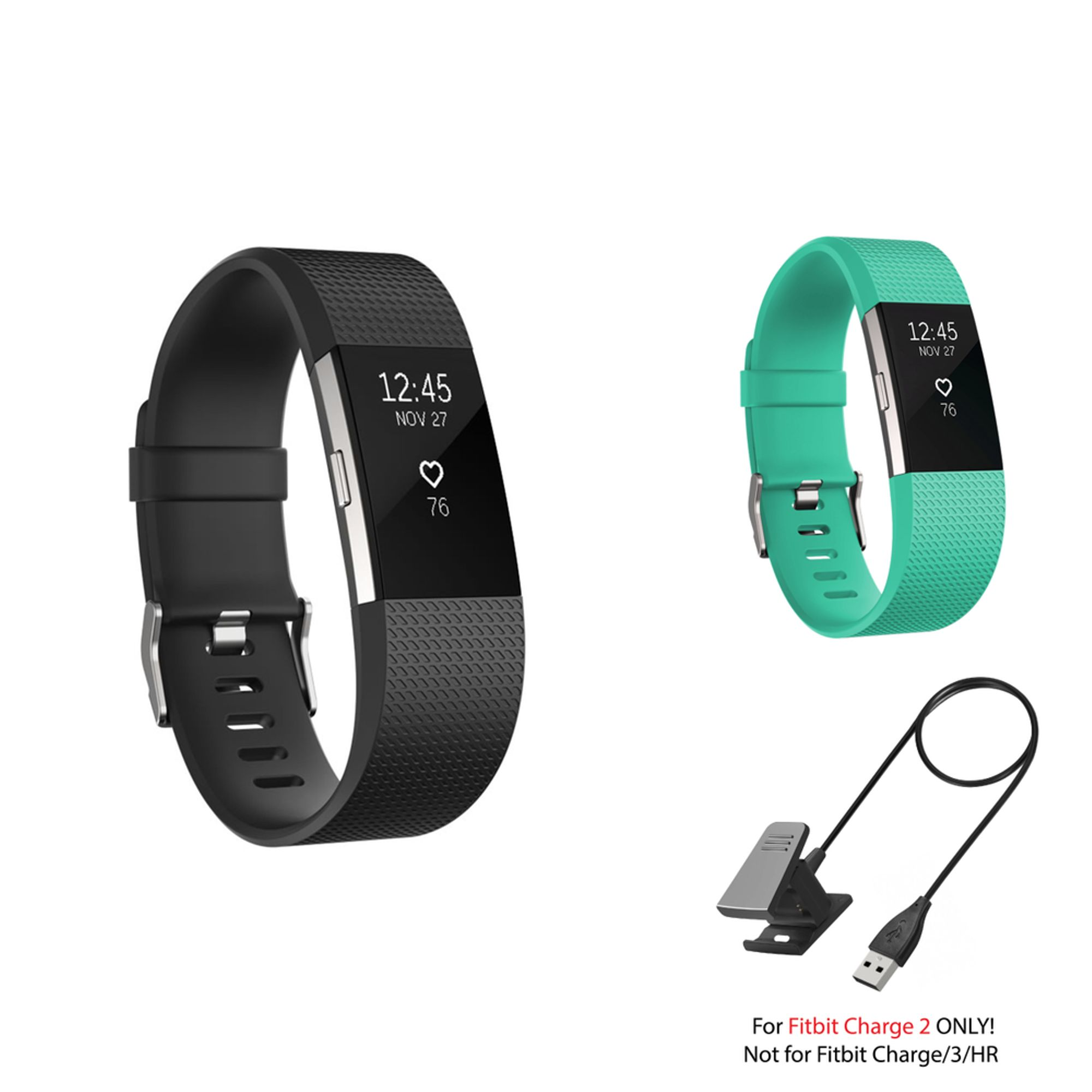 Fitbit Charge 2 Bands and Fitbit Charge 2 Charger by Zodaca 2 pack (Black & Mint Green) Replacement Bands Rubber Wristband Fashion Sport Strap with Buckle and USB Charging Cable for Fitbit Charge 2