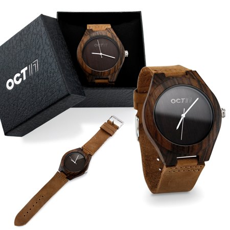 Oct17 Luxury Men's Walnut Wood Fashion Bamboo Wooden Watch Quartz Genuine Leather Japanese Quartz Movement Casual Wristwatches -Brown