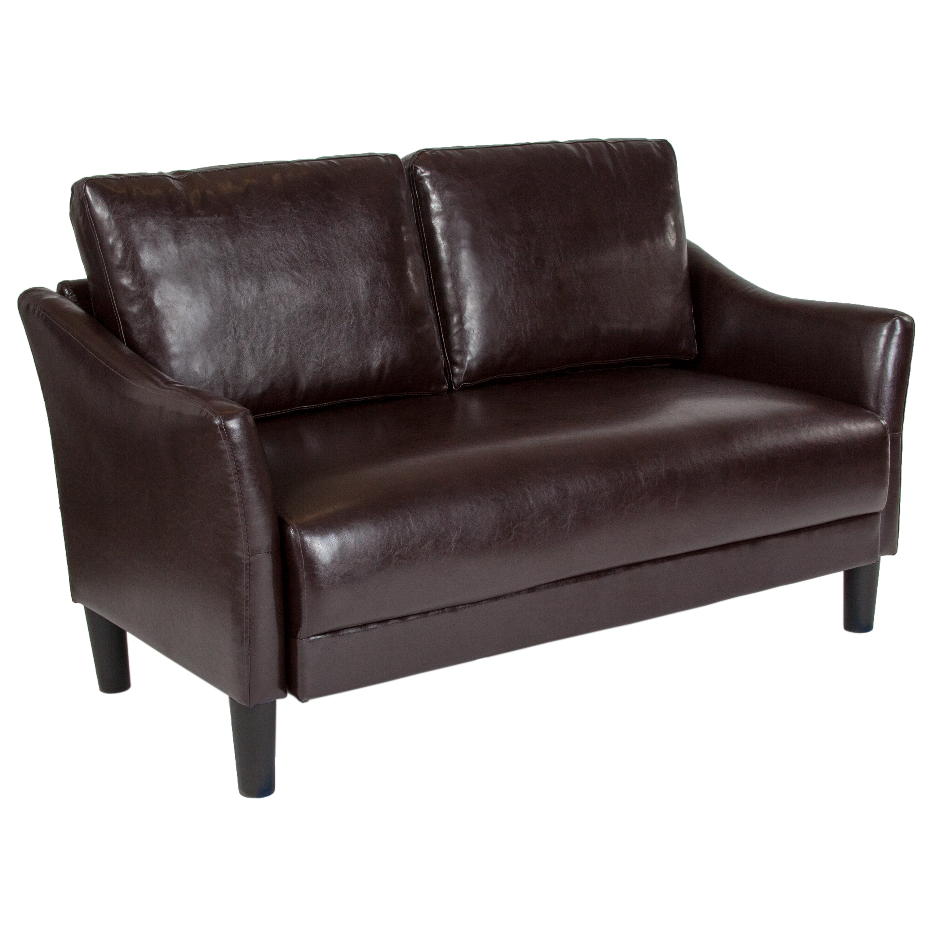 Asti Flash Furniture Upholstered Living Room Loveseat with Single Cushion Seat and Slanted Arms in Brown Leather