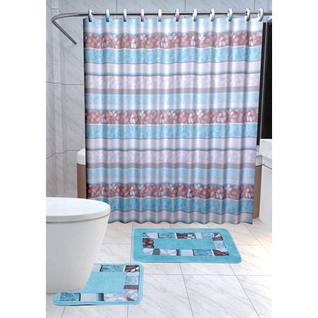 Zen 15 Piece Leaf Bathroom Accessories Set Rugs Shower Curtain Matching Rings Turquoise Blue