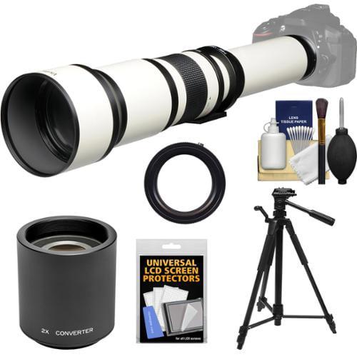Vivitar 650-1300mm f/8-16 Telephoto Lens (White) (T Mount) with 2x Teleconverter (=2600mm) + Tripod + Kit for Canon EOS 6D, 70D, 7D, 5DS, 5D Mark II III, Rebel T5, T5i, T6i, T6s, SL1 Camera