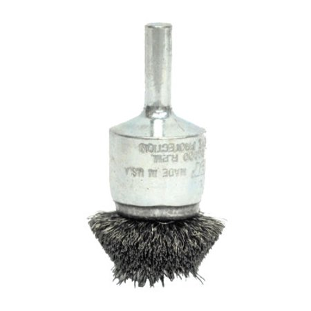 Stem-Mounted Circular Flared End Brushes, Steel, 20,000 rpm, 1 1/2 x 0.008 Circular Flared End Brushes