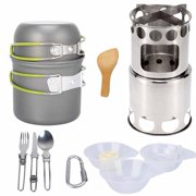 Portable Outdoor Hiking Camping Pot Set Picnic Cookware with Wood Stoves