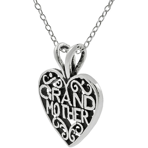 "Brinley Co. Grandmother"" Sterling Silver Heart Pendant, 18"""""