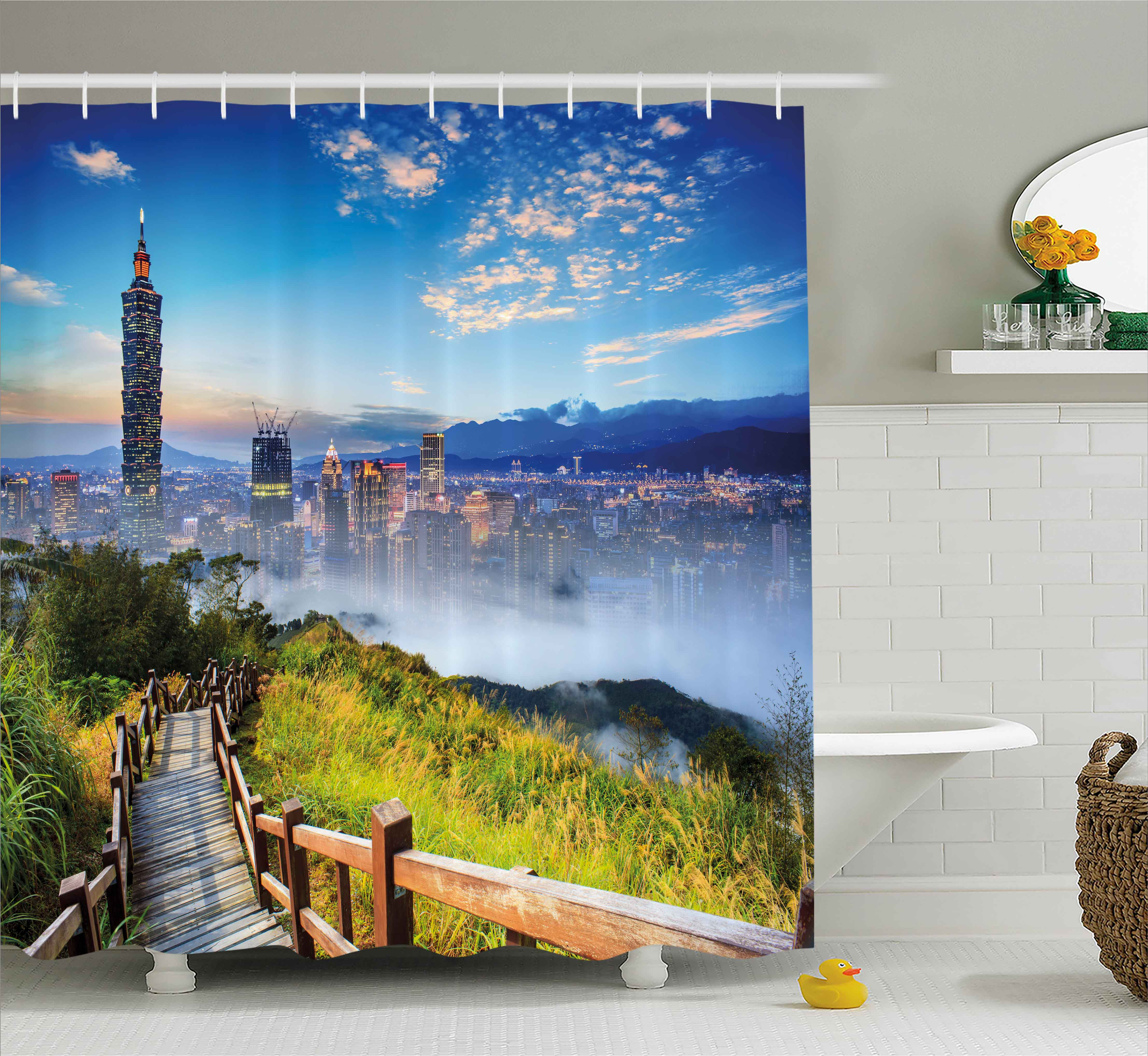 Shower Curtains Extra Long Nature Scenery Printed Bathroom