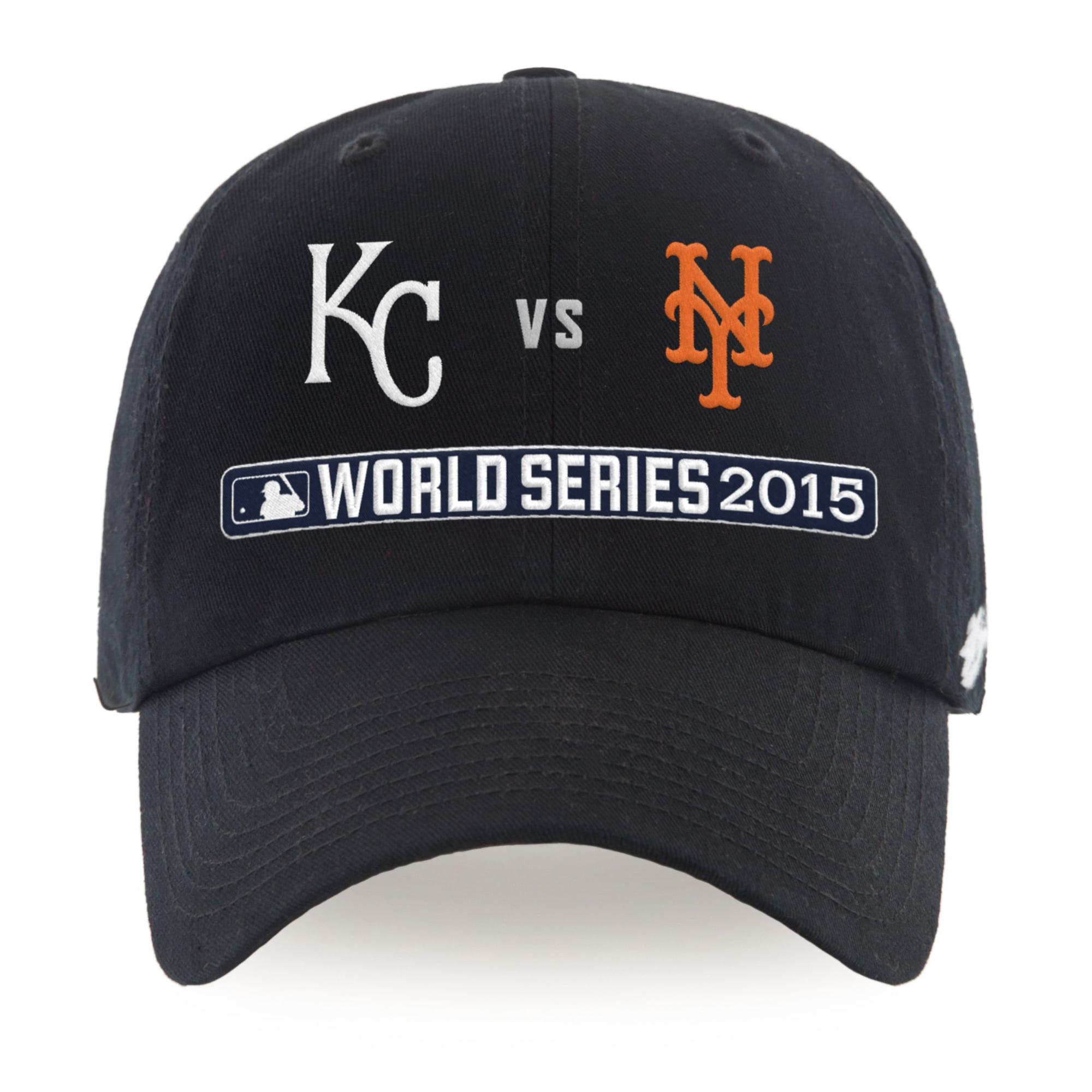 Kansas City Royals vs. New York Mets '47 2015 World Series Dueling Clean Up Adjustable Hat - Black - OSFA