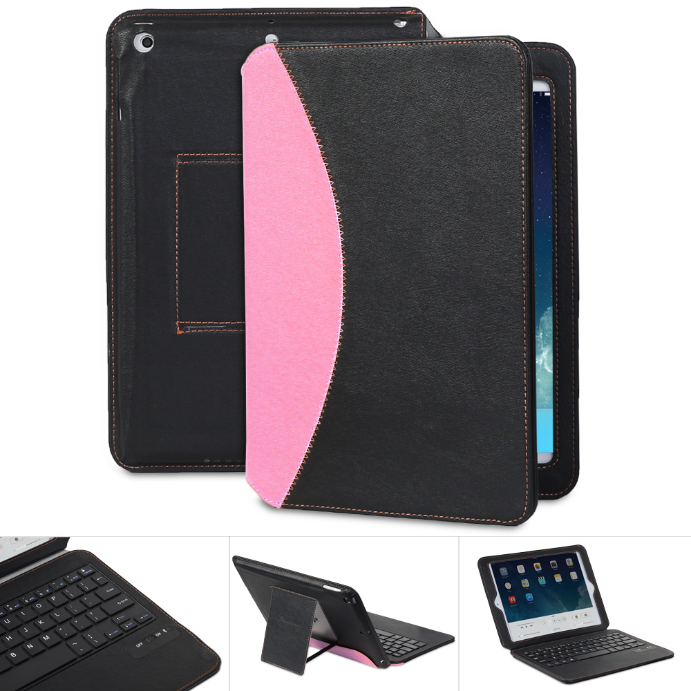 GreatShield Apple iPad Air slim Keyboard Case [LEAN] Series Leather Cover with Auto Sleep/Wake Function for iPad 5 - Retail Packaging (Black / Pink)