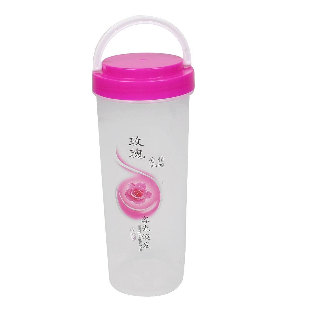Unique Bargains Unique Bargains 500ml Rose Decor Pink Portable Handle Water Bottle for Travel - image 1 of 1