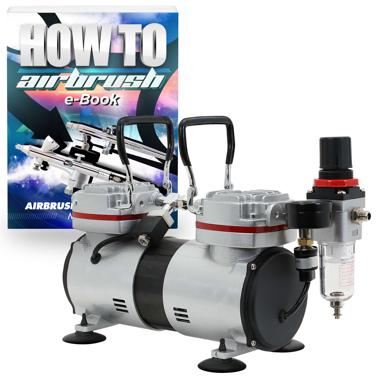 PointZero Pro Airbrush Air Compressor Tankless Twin Piston 1/3 HP