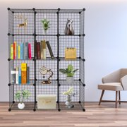 Lowestbest Cube Storage Organizer, Book Shelf 12 Cube Storage Unit for Clothes, Metal Cube Storage Shelves for Bedroom Living Room Office, Black