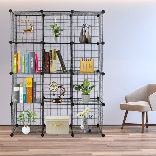 Veryke Cube Storage Organizer, Metal Cube Storage Shelves for Bedroom Living Room Office, Book Shelf 12 Cube Storage Unit for Clothes, Black