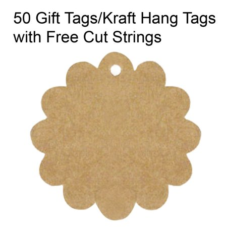 Wrapables® 50 Gift Tags/Kraft Hang Tags with Free Cut Strings for Gifts, Crafts & Price Tags - Flower These tags are the perfect gift accessory.