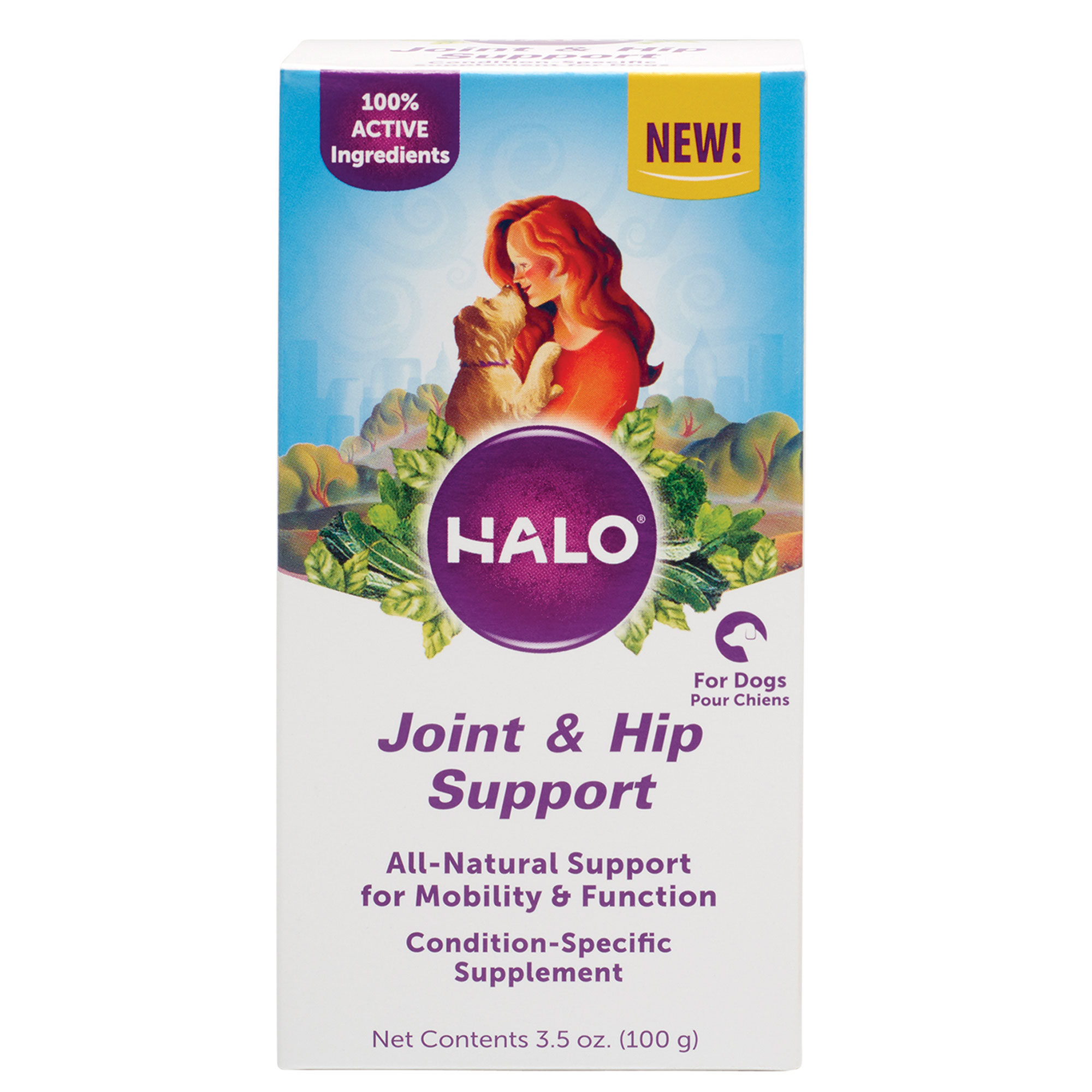 Halo Natural Supplements with Glucosamine for Dogs, Joint & Hip Support, 3.5-Ounce Bottle