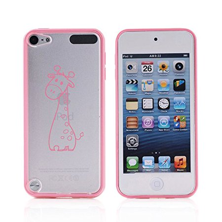 For Apple iPod Touch 6th Generation Transparent Clear Hard TPU Case Cover Cute Giraffe Cartoon (Light Pink) ()