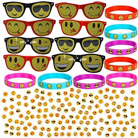 Emoji Party Favors Pack - 8 Sunglasses + 8 Bracelets + 144 Tattoos - Full Emoji Themed Party Favor Set.](Movie Themes For Parties)