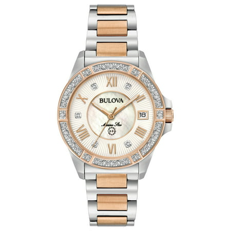 Bulova Women's Marine Star Diamond Two Tone Stainless Steel Watch (ladies bulova watches on sale)
