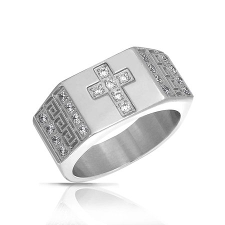 Religious Wide Mens Cubic Zirconia CZ Christian Greek Key Cross Ring Band For Men Silver Tone Stainless
