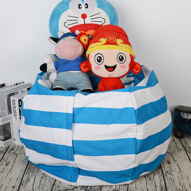 "Amerteer 24"" Kids' Bean Bag Chair Stuffed Animal Storage, Stripe Cotton Canvas Toy Organizer for Kids Bedroom, Storage Solution for Plush Toys,Towels & Clothes-Blue"