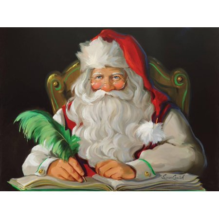 Naughty or Nice Santa Claus Christmas Portrait Art Print Wall Art By Susan Comish ()