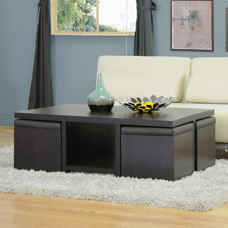 Mahogany Set Coffee Table - Baxton Studio Prescott Coffee Table and Stool Set