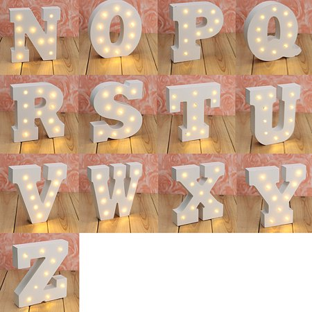 N-Z Alphabet Wooden Letter Lights LED Marquee Light Standing Hanging Light UP Wedding Party Decor - Light Up Jewelry