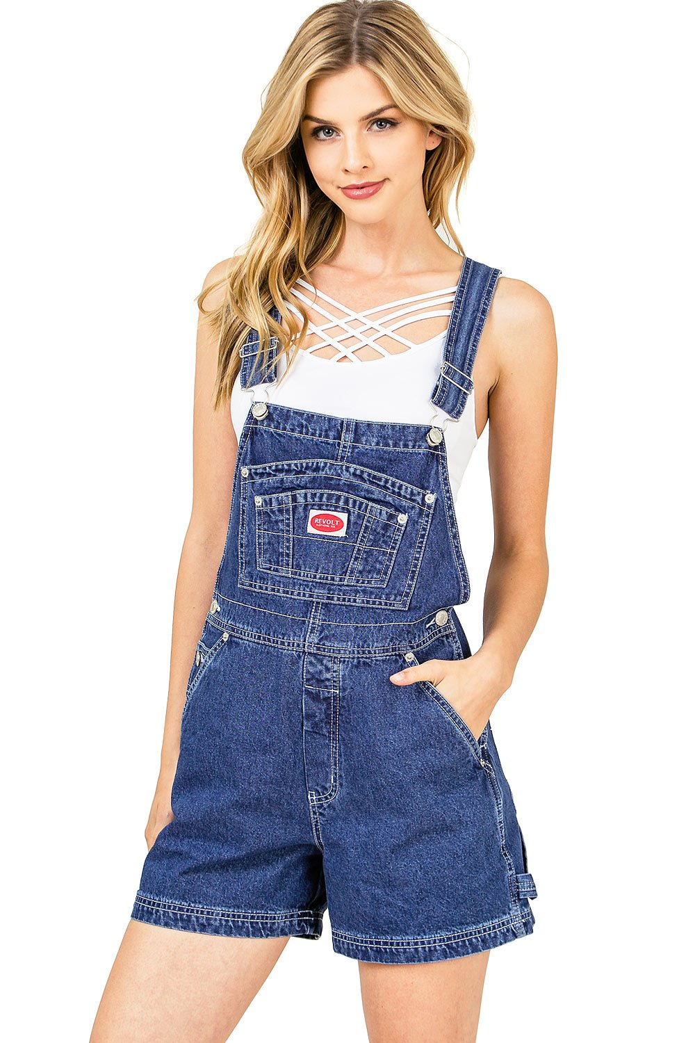 Revolt Women's Juniors Classic Denim Short Overalls (S, Medium Denim)