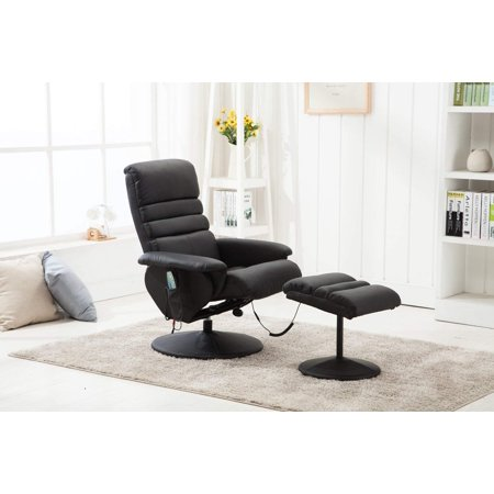 Mcombo Electric Massage Recliner Chair and Ottoman with Wrapped Base Swivel Seat 7902