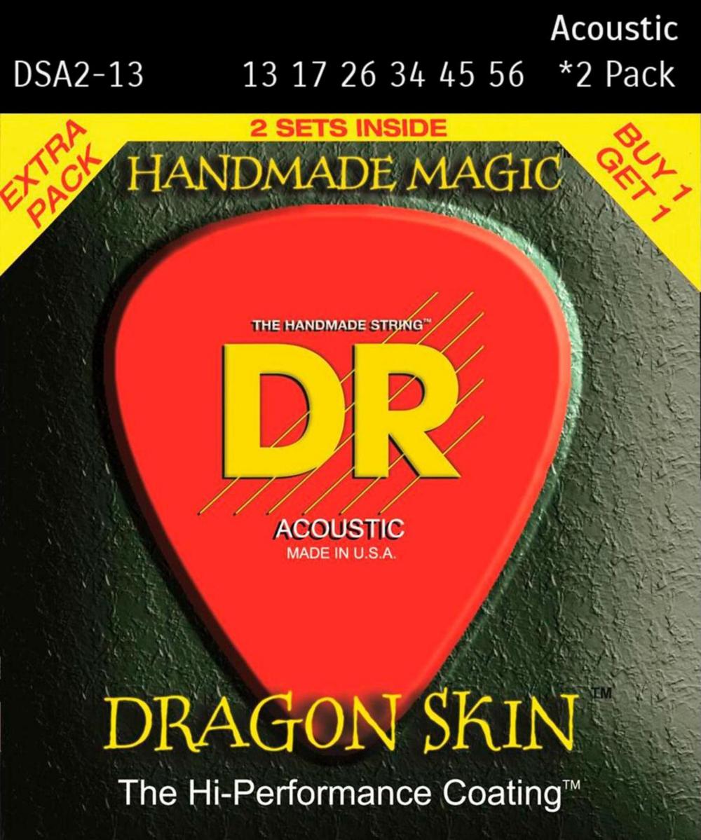 DR Strings Dragon Skin Clear Coated Phosphor Bronze Heavy Acoustic Guitar Strings (13-56)... by DR Strings
