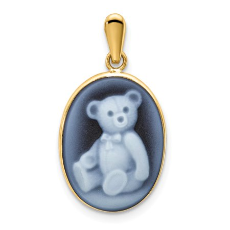 Yellow Gold Teddy Bear Charm - Solid 14k Yellow Gold 12x16 Teddy Bear Simulated Agate Cameo Pendant (12mm x 25mm)