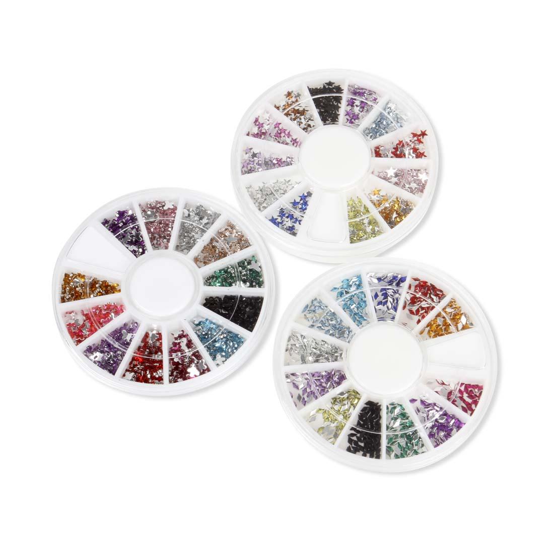 BMC 500pc Mixed Colors Acrylic Nail Art Multi Decorations Studs - 3 Wheel Sets