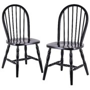 Windsor Chair, Set of 2, Black by Visiondecor Furniture