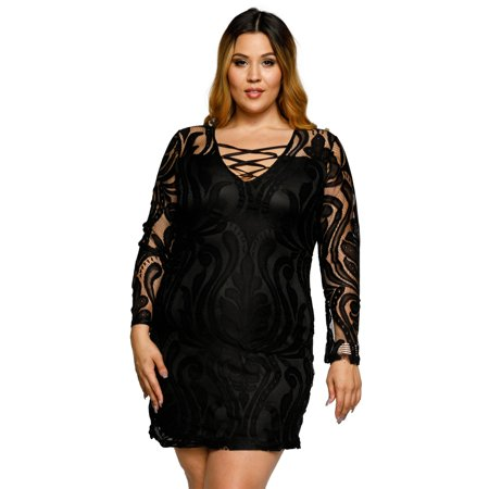 Forever 21 Plus Size Black Lace Dress Womens Dresses Skirts