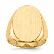14K Yellow Gold 22 MM Men's Oval Engravable Signet Ring, Size 10