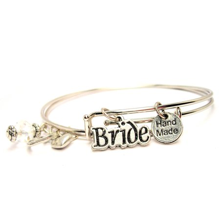 Bride Expandable Bangle Bracelet Set  Fits 7 5  Wrist  Chubby Chico Charms Exclusive