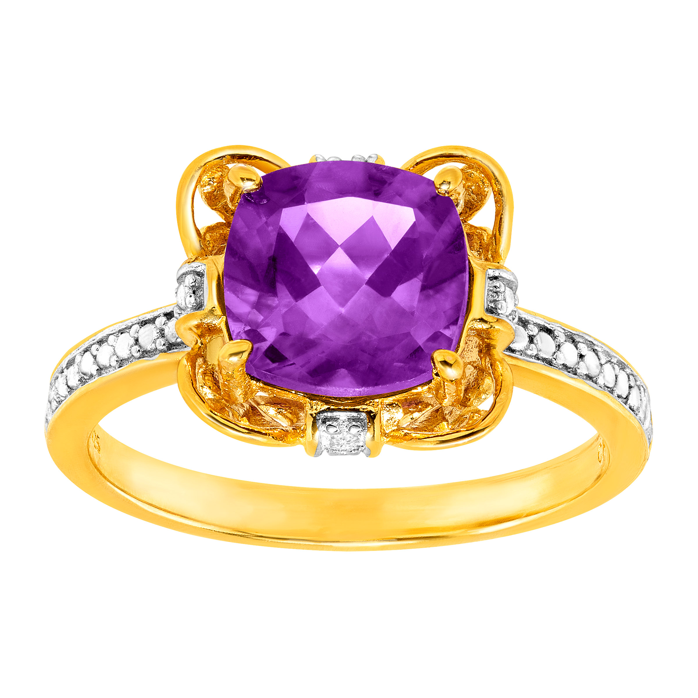 1 1 2 ct Natural Amethyst Ring with Diamonds in 18kt Gold-Plated Sterling Silver by Richline Group