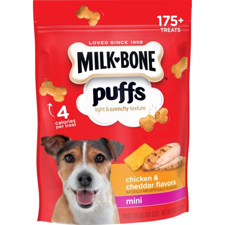 Dogs 8 Ounce Pouches - Milk-Bone Puffs Crunchy Dog Treats, Chicken and Cheddar Flavor, Mini Size, 8-Ounce Bag