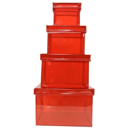 "JAM Paper Translucent Vinyl 4-Piece Nesting Box Set, XL, 4"" x 4"" x 5 7/8"", Red, Sold individually"