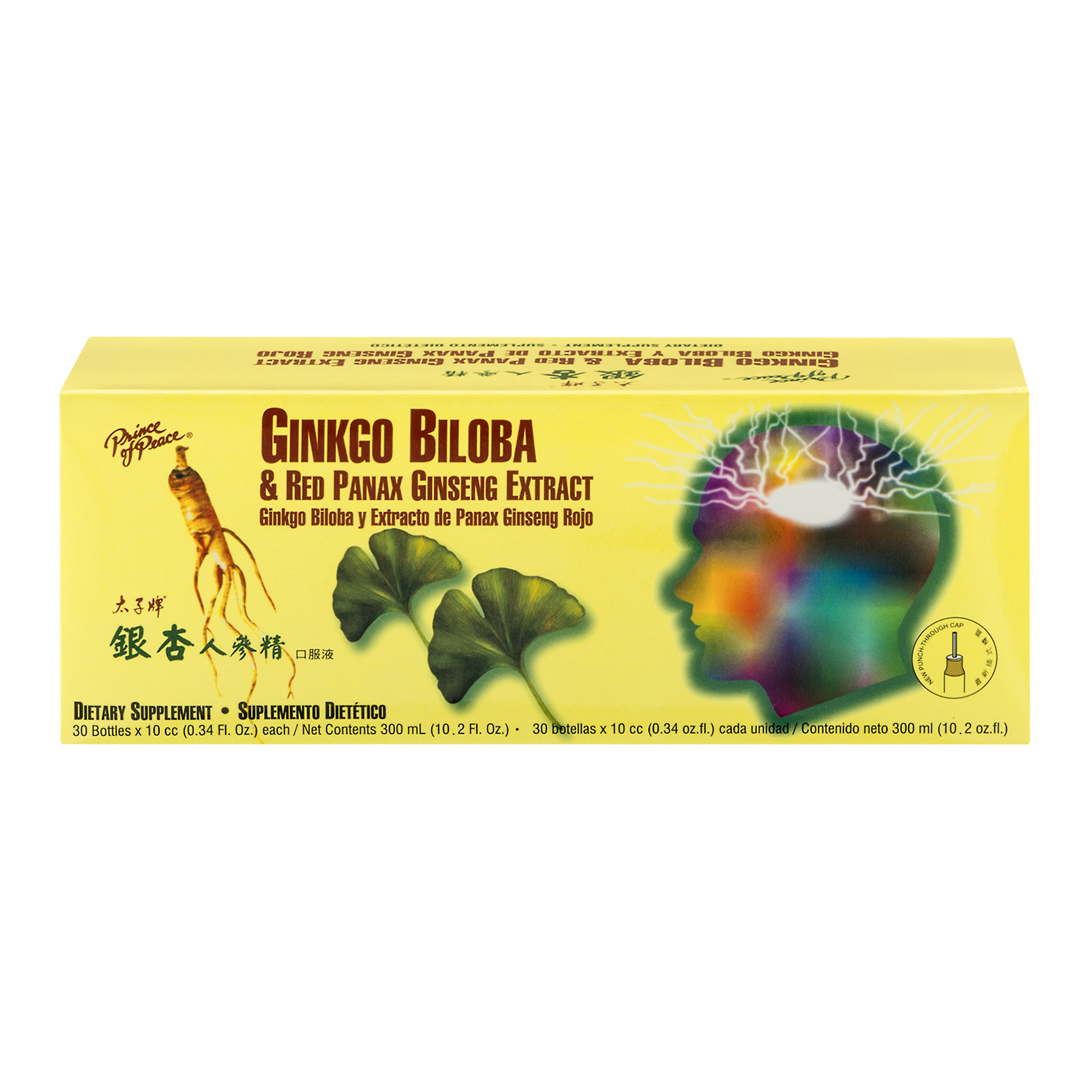 Prince of Peace Ginkgo Biloba & Red Panax Ginseng Extract Dietary Supplement - 30 CT0.34 FL OZ