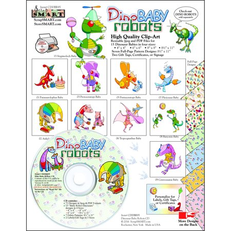 ScrapSMART Dinosaur Baby Robots Clip-Art CD-ROM, Colorful Illustrations for Scrapbook, Craft, Sewing