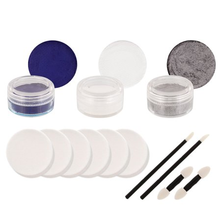 Silver Face Makeup (COWBOYS Football FACE PAINTING SET Fan Makeup Dark Blue White Silver Paint)