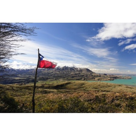 Chilean Flag on a Overlook, Puerto Ibanez, Aysen, Chile Print Wall Art By Fredrik Norrsell