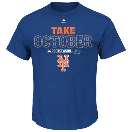 Mens Majestic Royal New York Mets 2015 Playoff Authentic Collection Take October T Shirt